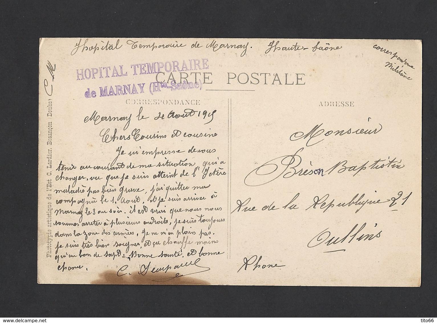 Carte Postale De Marnay Du 4/8/1915 Tampon Hôpital Temporaire De Marney - Marcophilie (Lettres)