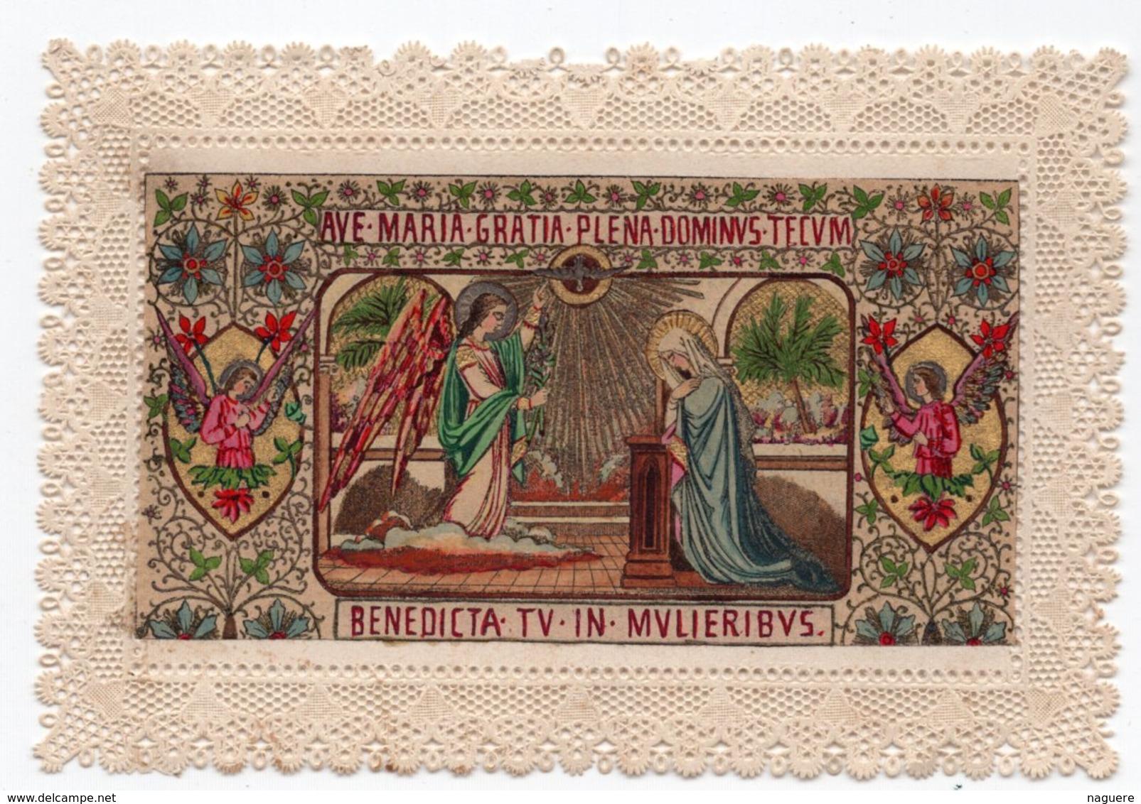 AVE MARIA  BENEDICTA TV IN MULIERIBUS  LITHOGRAPHIE COULEUR  CANIVET XIXéme - Images Religieuses
