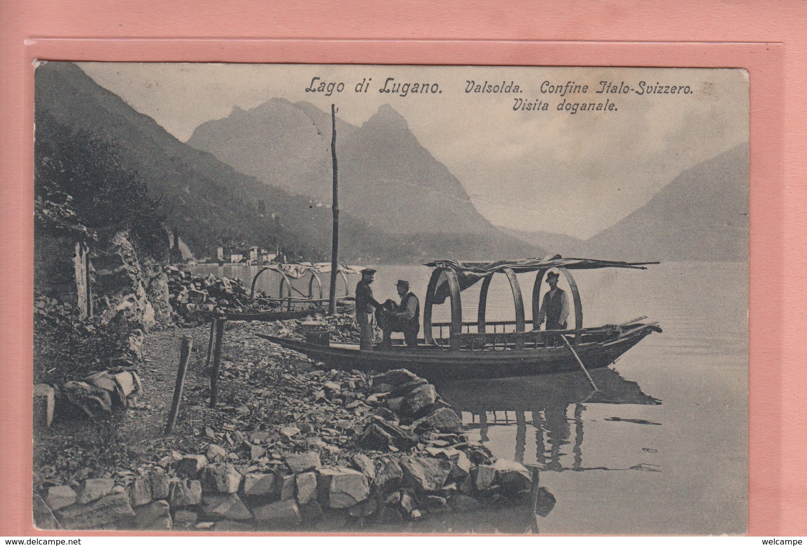 OUDE POSTKAART ZWITSERLAND - SCHWEIZ -  SVIZZERA - LAG DI LUGANO - VISITA DOGANALE - TI Ticino