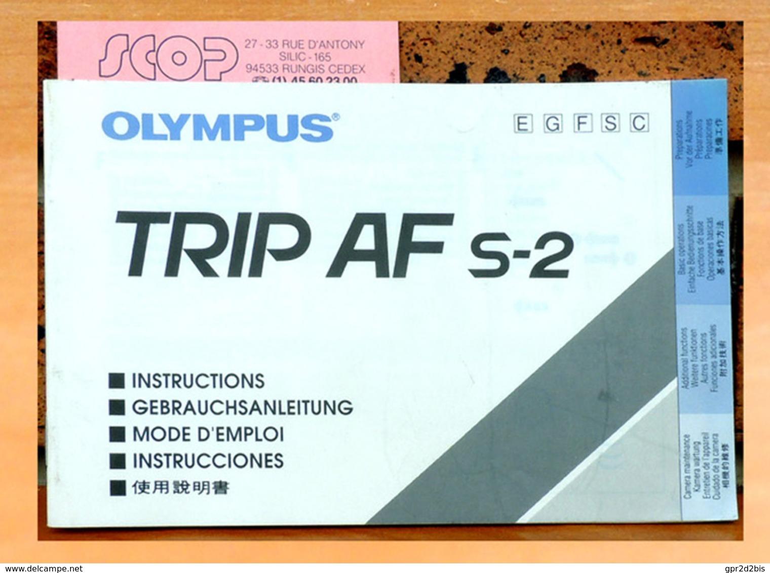 Notice OLYMPUS Pour TRIP AF S-2 En Français, Allemand, Anglais, Espagnol Chinois - Appareils Photo