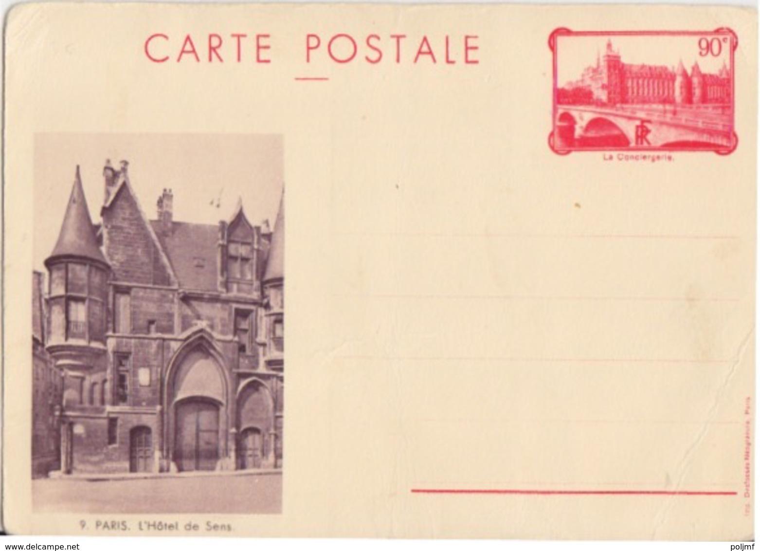 C CP La Conciergerie (9 L'Hôte De Sens) 90c Rouge 1936 F2d Neuf - Postal Stamped Stationery