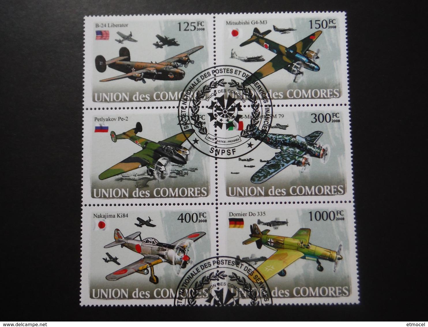 Union Des Comores 2008 - 2e GM - Avions Militaires - Bloc De 6 - WO2