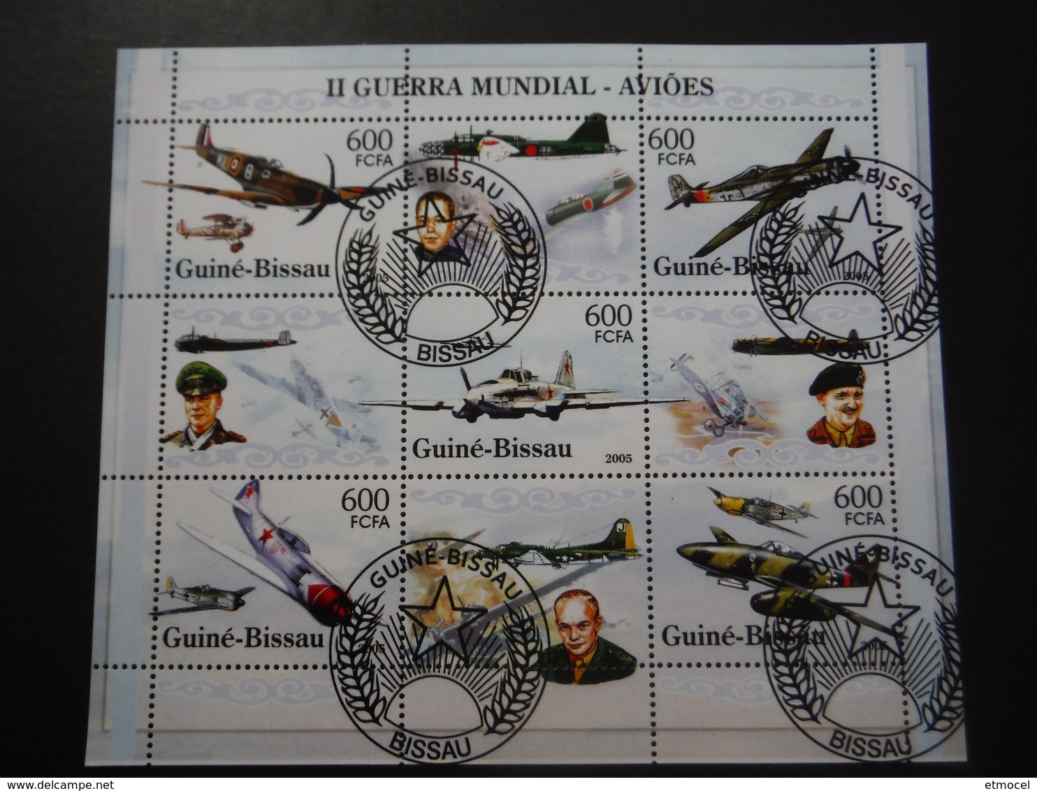 Guinée Bissau 2005 - 2e GM - Avions Militaires Et Personnages Hist.- Bloc De 9 - WO2