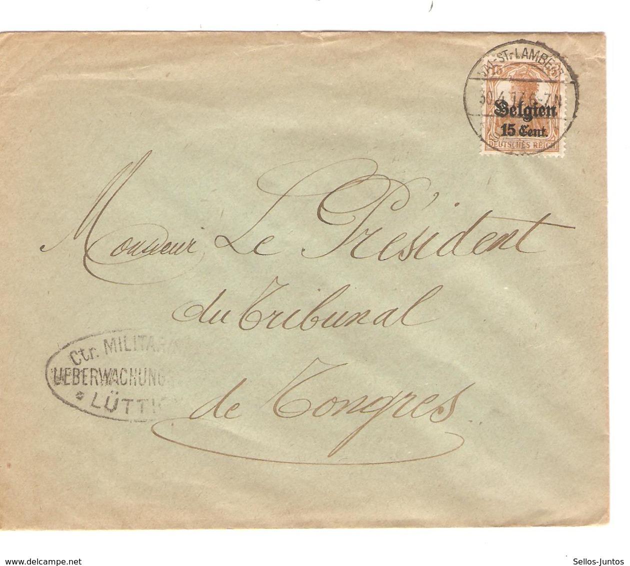 SJ96/ TP Oc 15 S/L.c.Val St.Lambert 1917 Censure Lüttich V.Tongres - [OC1/25] General Gov.