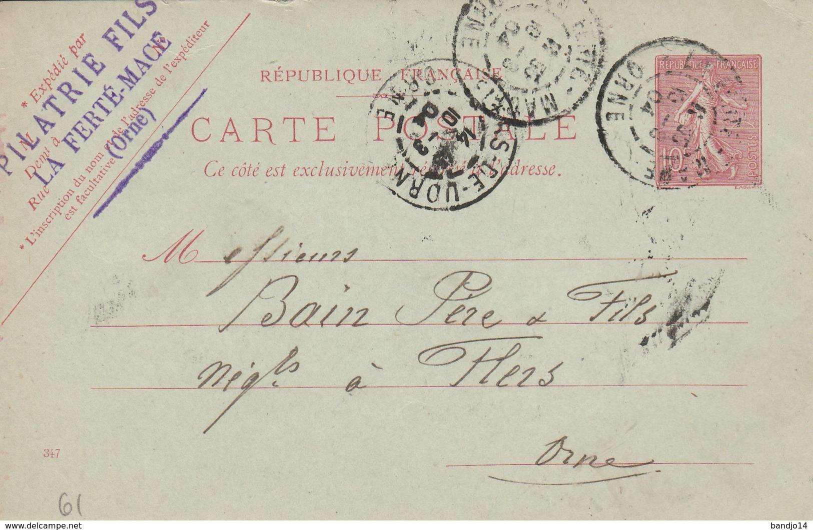 """La Ferté Macé  - Cachet Entreprise  """"PILATRIE FILS  """" Sur  Entier Postal - Scan Recto-verso - Postales Tipos Y (antes De 1995)"""