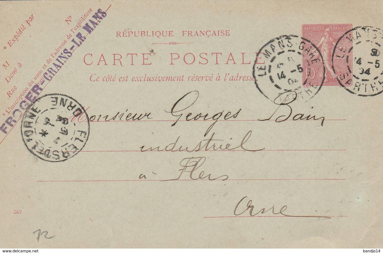 """Le Mans  - Cachet Entreprise """" FROGER - GRAINS """" Sur  Entier Postal - Scan Recto-verso - Enteros Postales"""