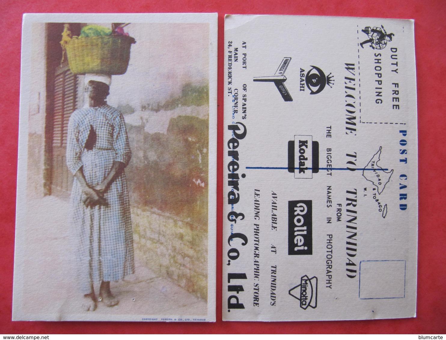CPSM - TRINIDAD  - WELCOME TO TRININIDAD - PEREIRA & CO LTD - FEMME AVEC PANIER SUR LA TETE - Trinidad