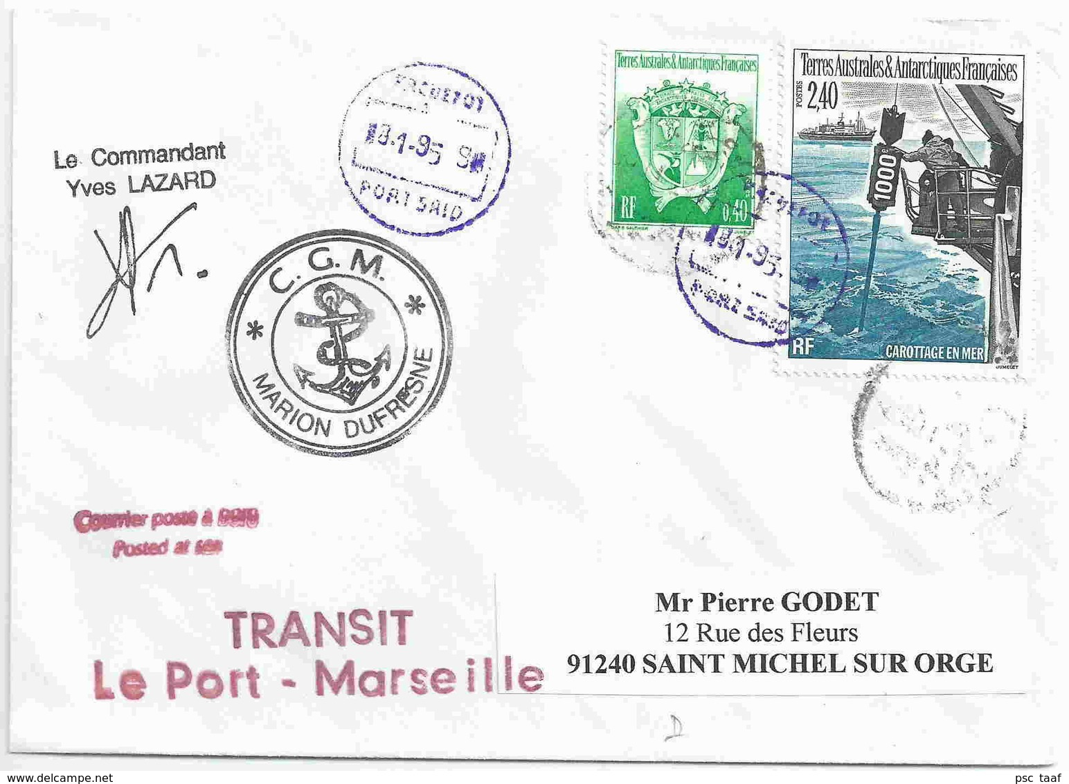 YT 187 - Carottage En Mer - Escale Du Marion Dufresne à Port Saïd - Egypte - Terres Australes Et Antarctiques Françaises (TAAF)