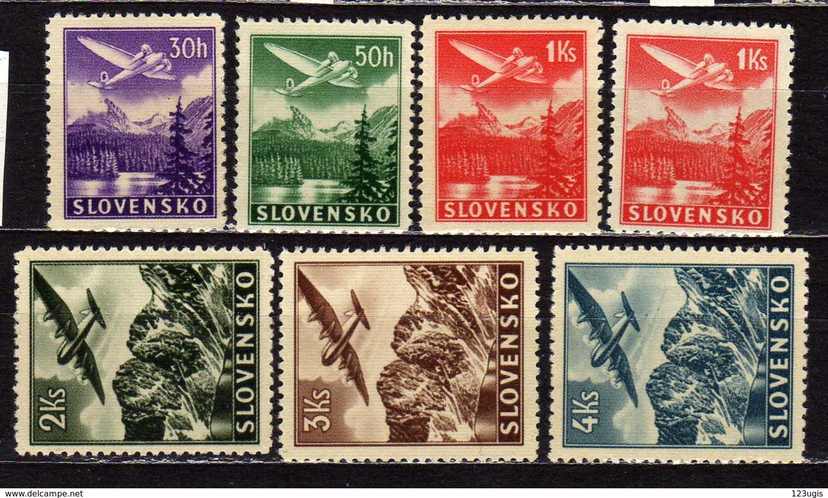 Slowakei / Slovakia, 1939/1944, Mi 48-53 (Mi 50 X + Y) **, Flugpost   [240319XXIV] - Slowakije