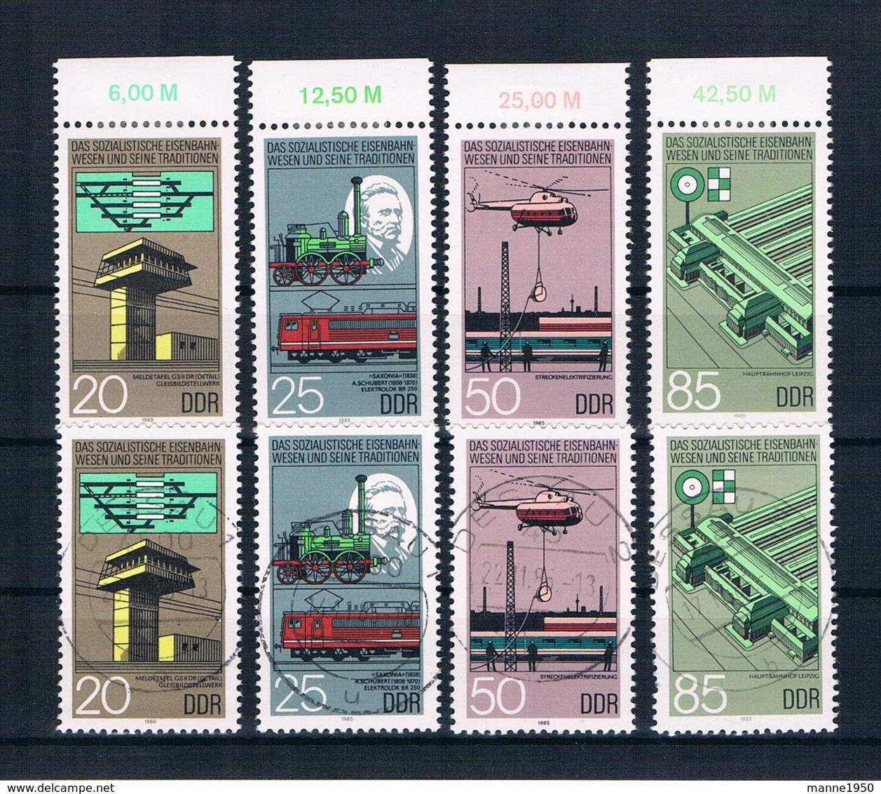 DDR 1985 Eisenbahn Mi.Nr. 2968/71 Kpl. Satz ** + Gestempelt - Neufs