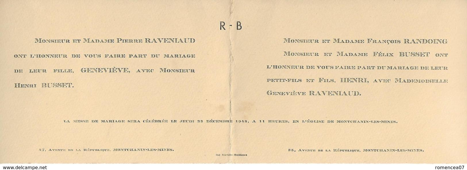 71 MONTCHANIN-les-MINES - Faire-Part De Mariage Entre Henri BUSSET Et Geneviève RAVENIAUD - 23 Décembre 1948 - A Voir ! - Mariage