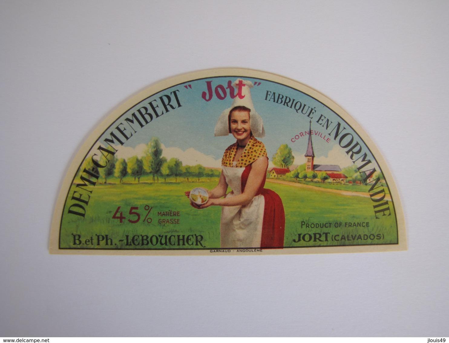 Etiquette De Fromage DEMI CAMEMBERT JORT Fabriqué En NORMANDIE 45% - Fromage