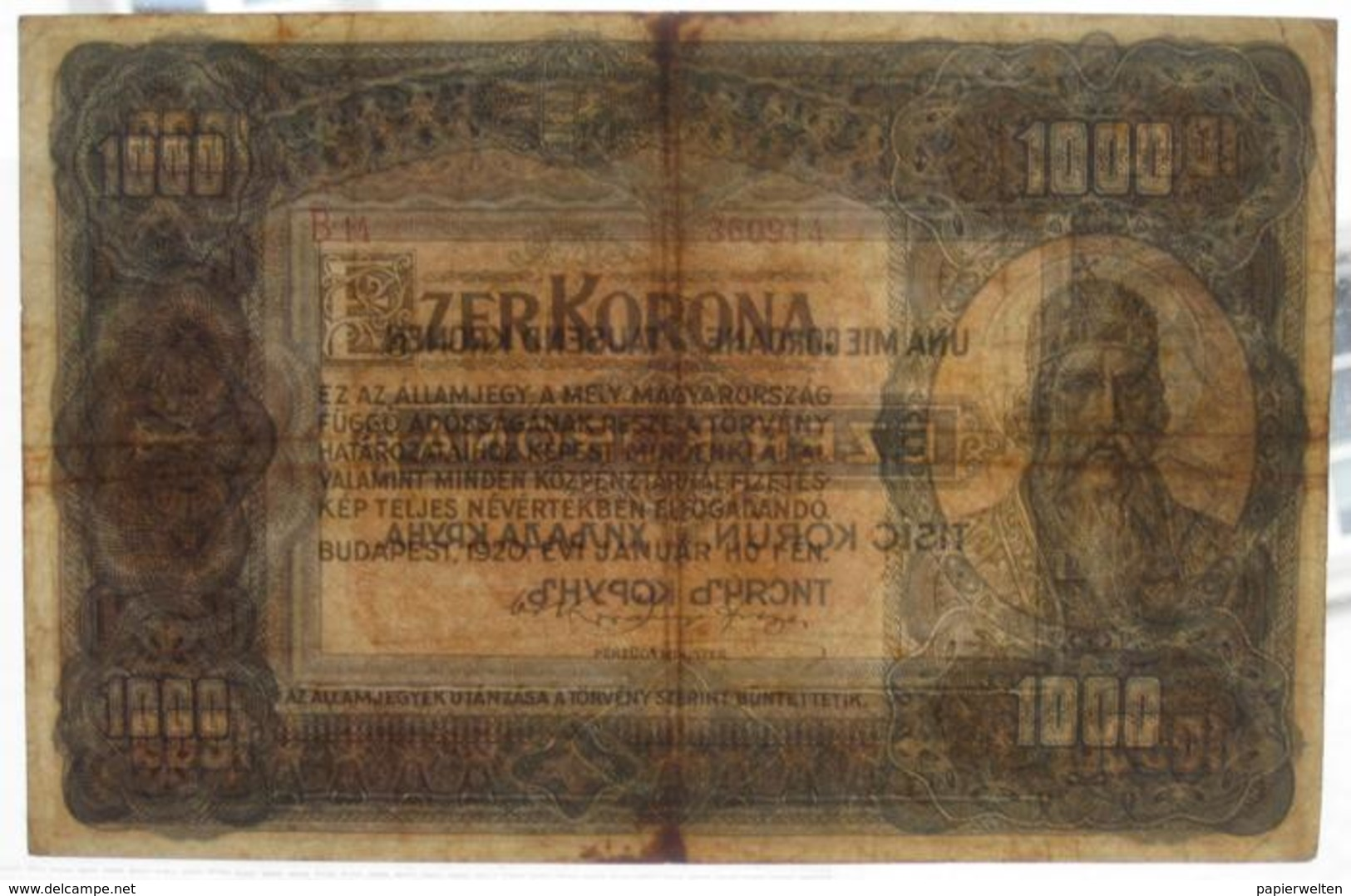 1000 / Ezer Korona 1920 (WPM 66) - Hungary