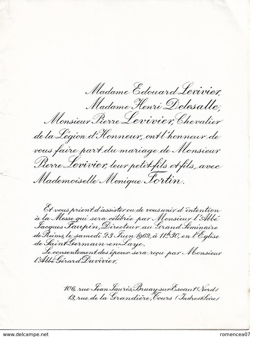 37 TOURS Et 78 SAINT-GERMAIN-en-LAYE - Faire-Part De Mariage Entre Pierre LEVIVIER Et Monique FORTIN - 12 Avril 1958 - Mariage
