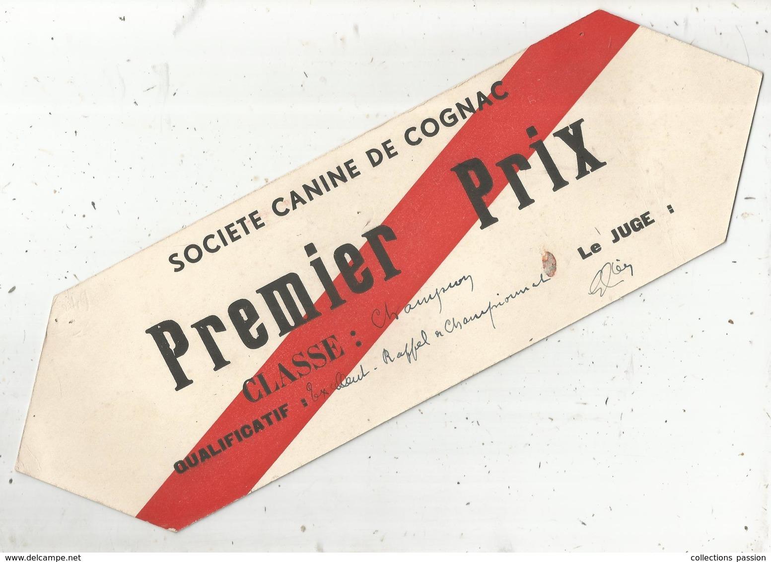 Plaque En Carton , Publicité , Société Canine De COGNAC ,premier Prix ,classe : Champion,1937,2 Scans, Frais Fr : 2.45e - Placas De Cartón
