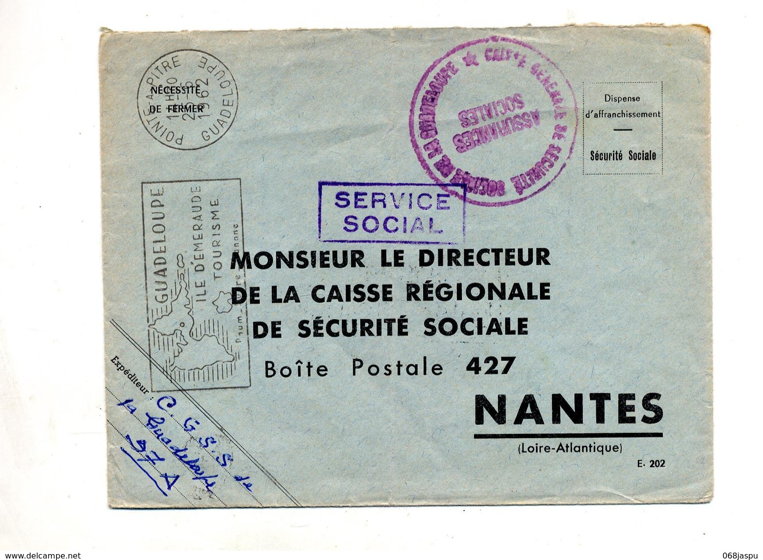 Lettre Franchise Flamme Pointe à Pitre Ile Emeraude - Postmark Collection (Covers)