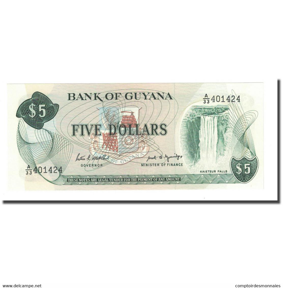Billet, Guyana, 5 Dollars, Undated (1989), KM:22e, NEUF - Guyana