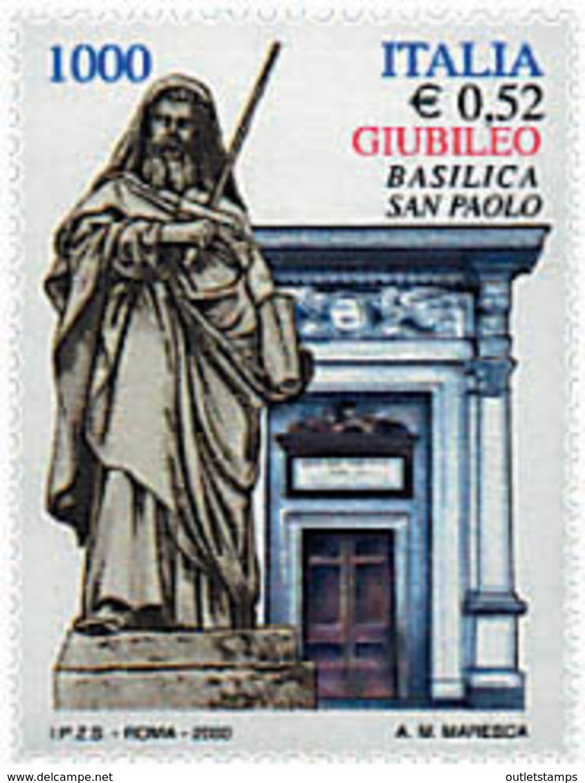 Ref. 58799 * NEW *  - ITALY . 2000. ST. PAUL BASILICA. BASILICA DE SAN PABLO - 6. 1946-.. República