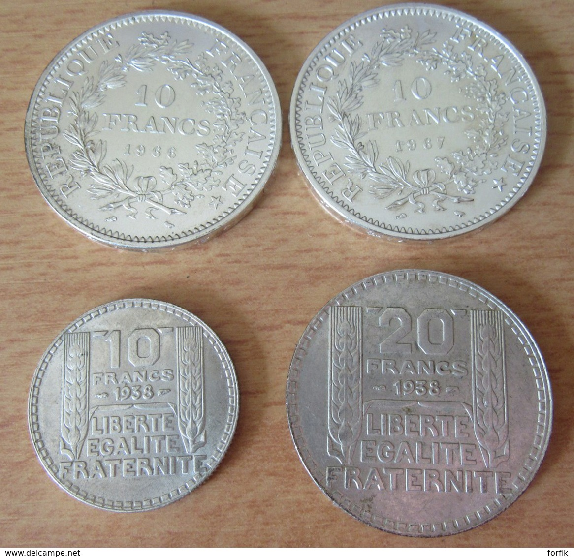 France - Lot De 4 Monnaies En Argent - 10 Francs Hercule 1966 / 1967, 10 Et 20 Francs Turin 1938 - Etat SUP - France