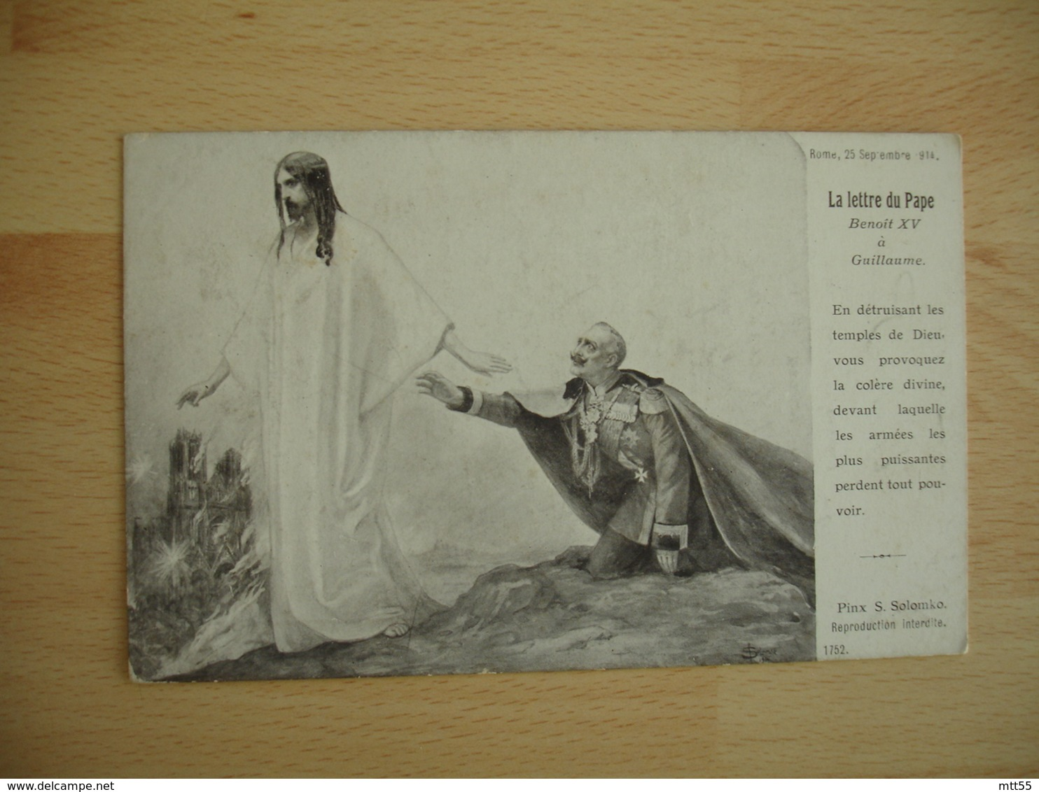 Militaria Religion Guerre 14.18 La Lettre Du Pape Benoit 15 A Guillaume - Guerra 1914-18