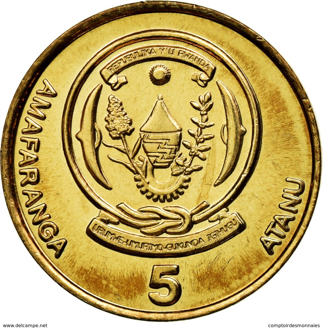 Monnaie, Rwanda, 5 Francs, 2003, SUP, Brass Plated Steel, KM:23 - Rwanda