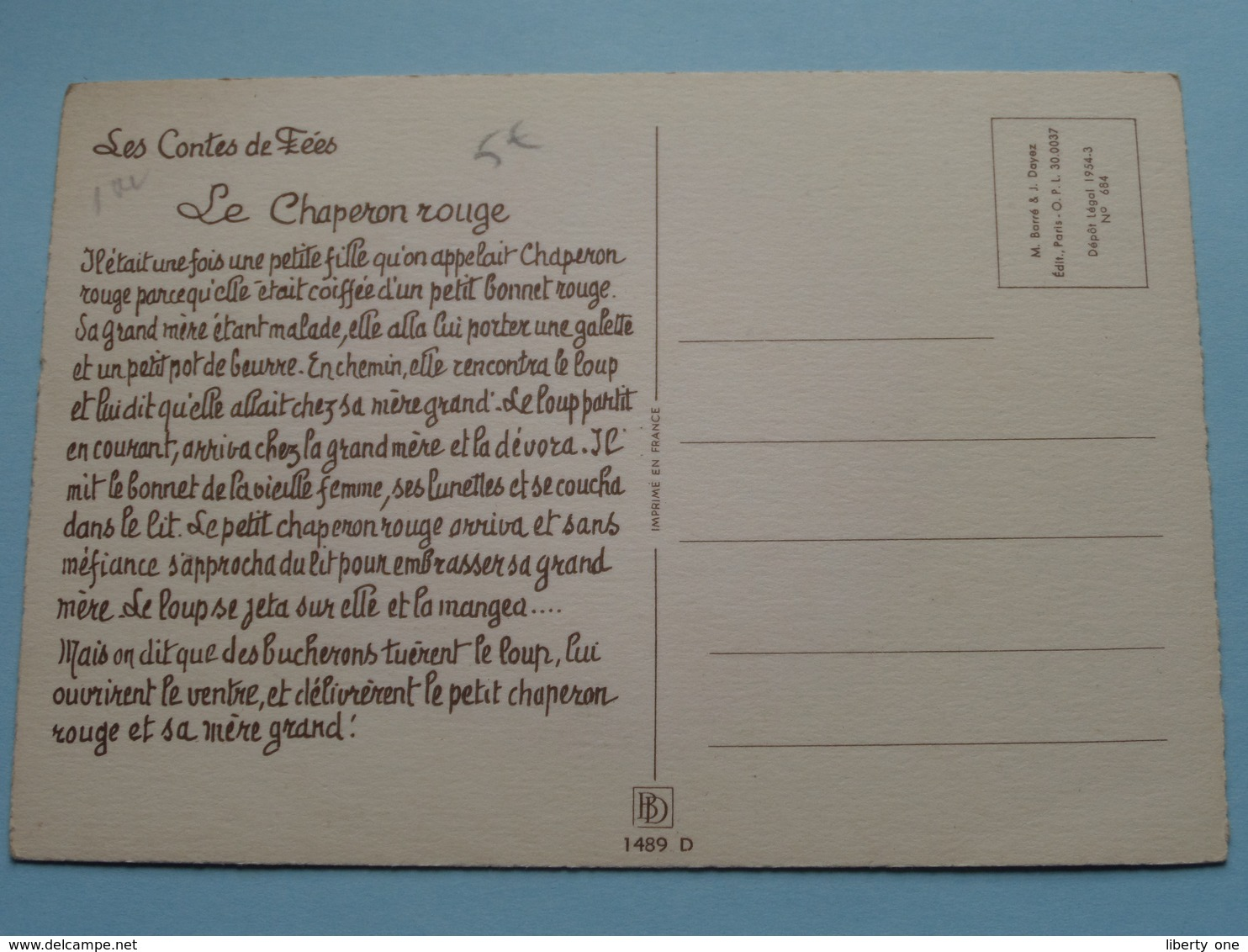 Le Petit Chaperon ROUGE ( Jack > BD 1489 D > Imp. France ) Anno 19?? ( Voir Photo ) ! - Contes, Fables & Légendes