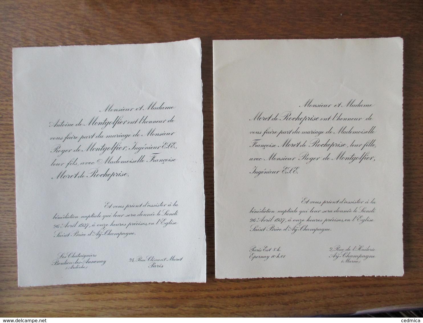 ÄY CHAMPAGNE LE 26 AVRIL 1937 MADEMOISELLE FRANCOISE MORET DE ROCHEPRISE AVEC MONSIEUR ROGER DE MONTGOLFIER - Mariage