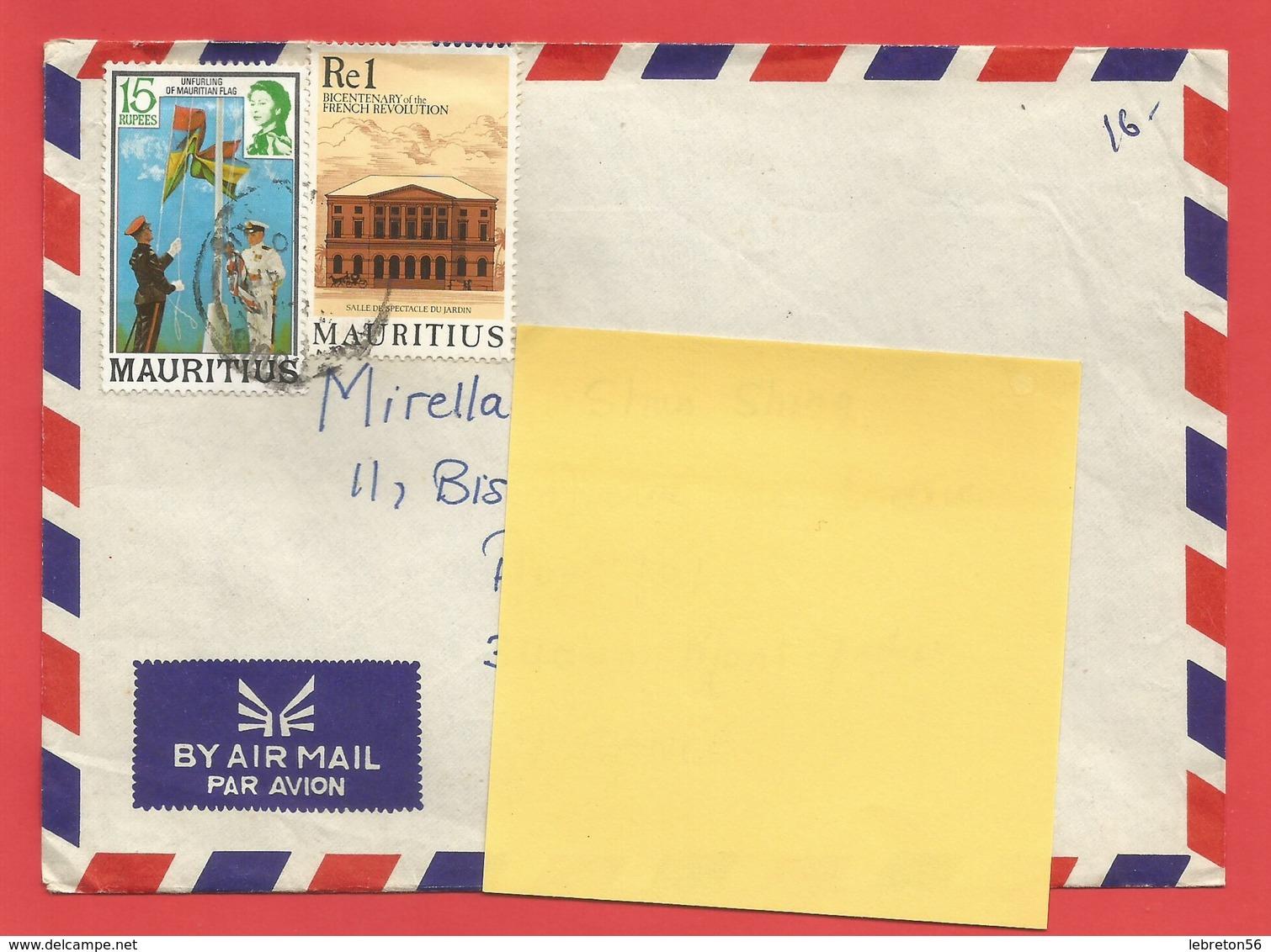 Enveloppe Timbrée ILE MAURICE  ( Mauritus Re1 Et 15 Rupees  ) Port Louis Voir Photo - Maurice (1968-...)