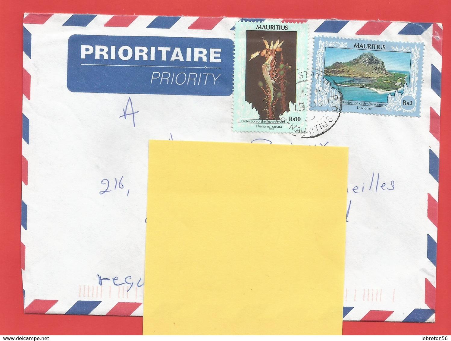 Enveloppe Timbrée ILE MAURICE  ( Mauritus Rs 10 Et Rs 2 ) Port Louis Voir Photo - Maurice (1968-...)