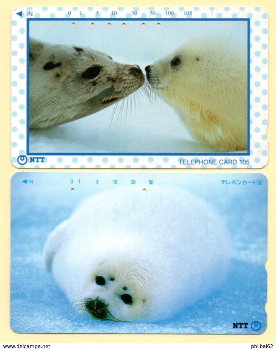 Télécartes Japon. 2 Cartes Bébés Phoques. - Phonecards