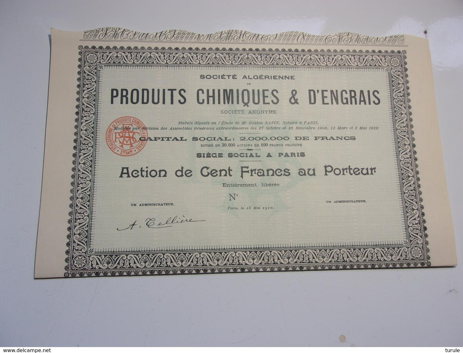 Algérienne De Produits Chimiques & D'engrais (1910) Imprimerie RICHARD - Aandelen