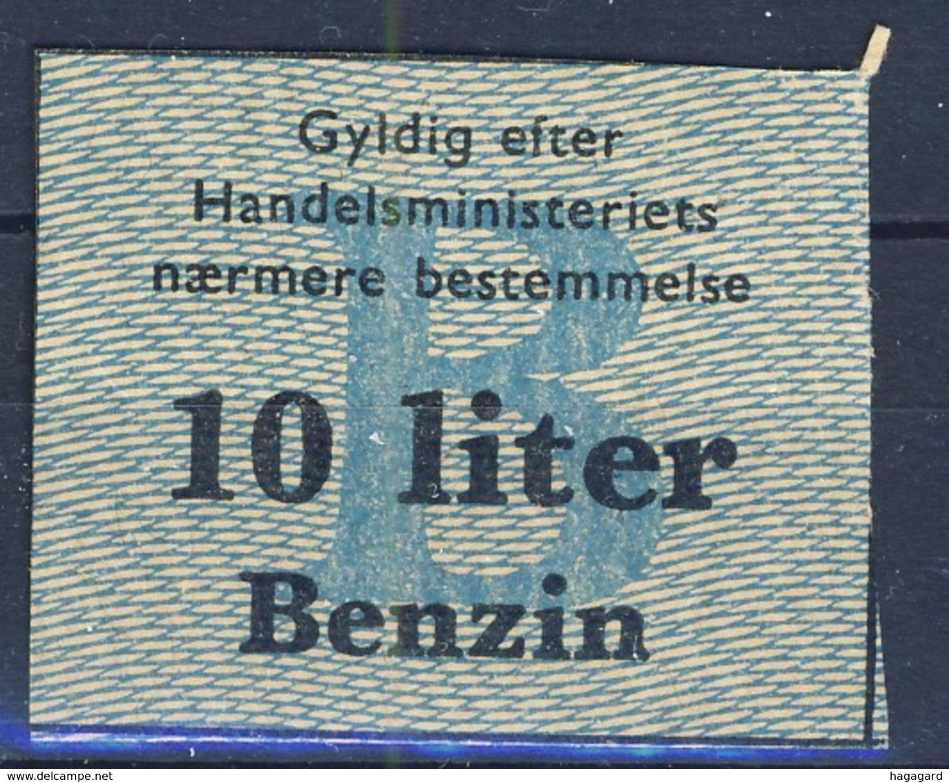 +Denmark 1940-45. Rations Cards. Petrol 10 Liters. - Non Classés