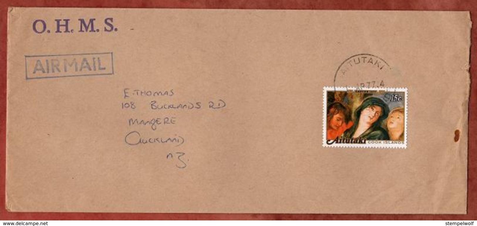 Luftpost, Ostern Rubens, Aitutaki Cook Islands Nach Auckland 1977 (71882) - Aitutaki