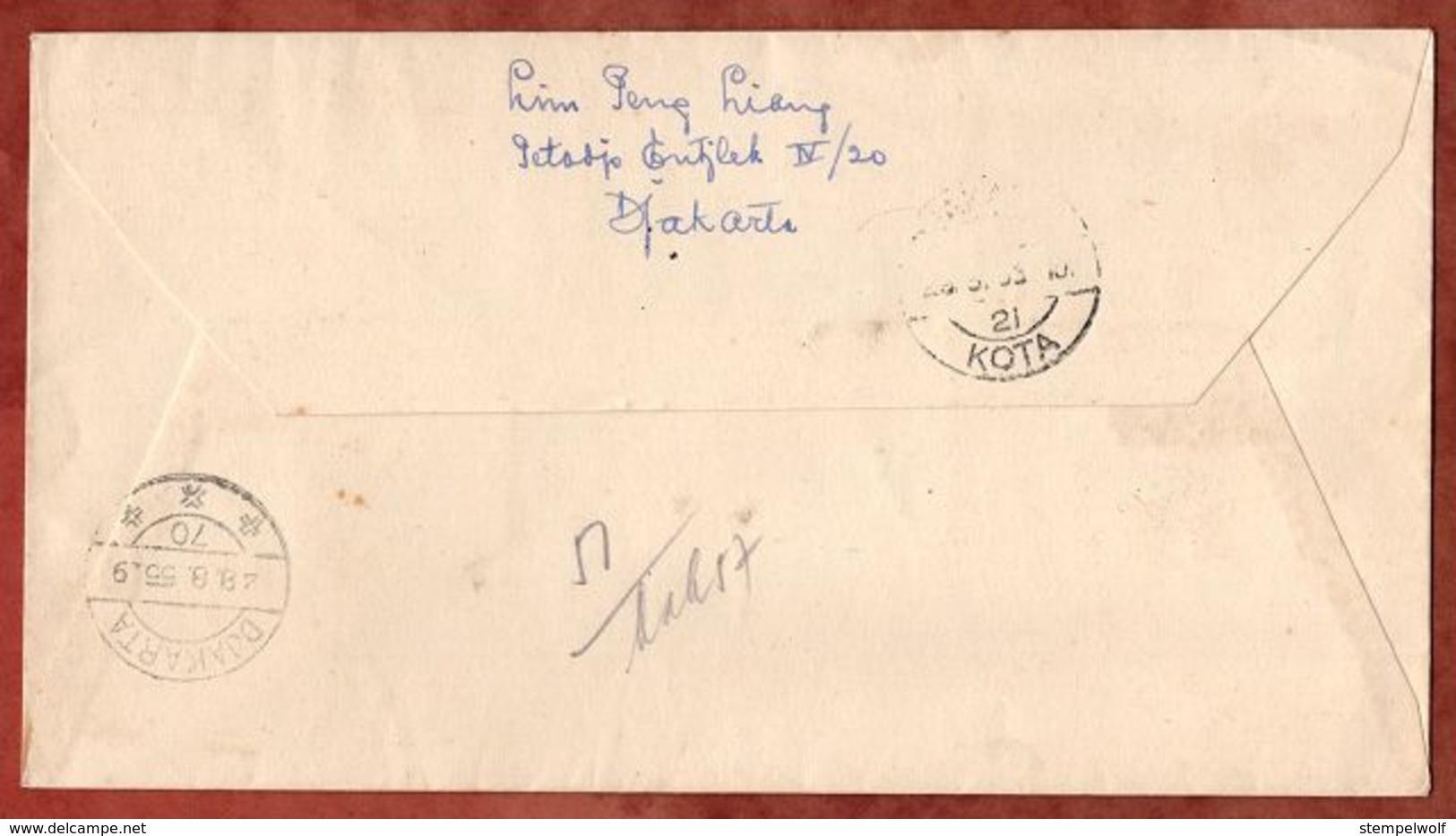 FDC, Einschreiben Reco, 10 Jahre Republik, Bandung Nach Djakarta 1955 (71887) - Indonesia