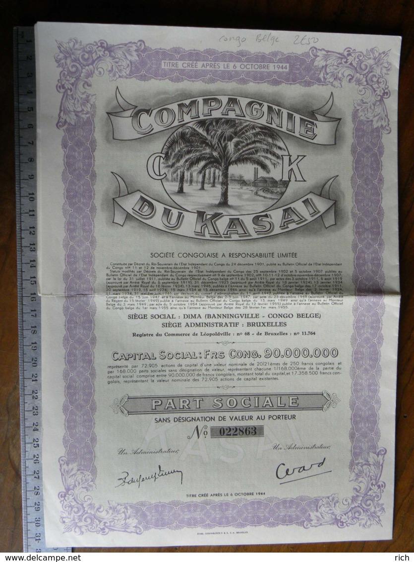 Titre Crée Après Le 6/10/1944 Compagnie Du Kasai - Congo Belge - Part Sociale - - Non Classés