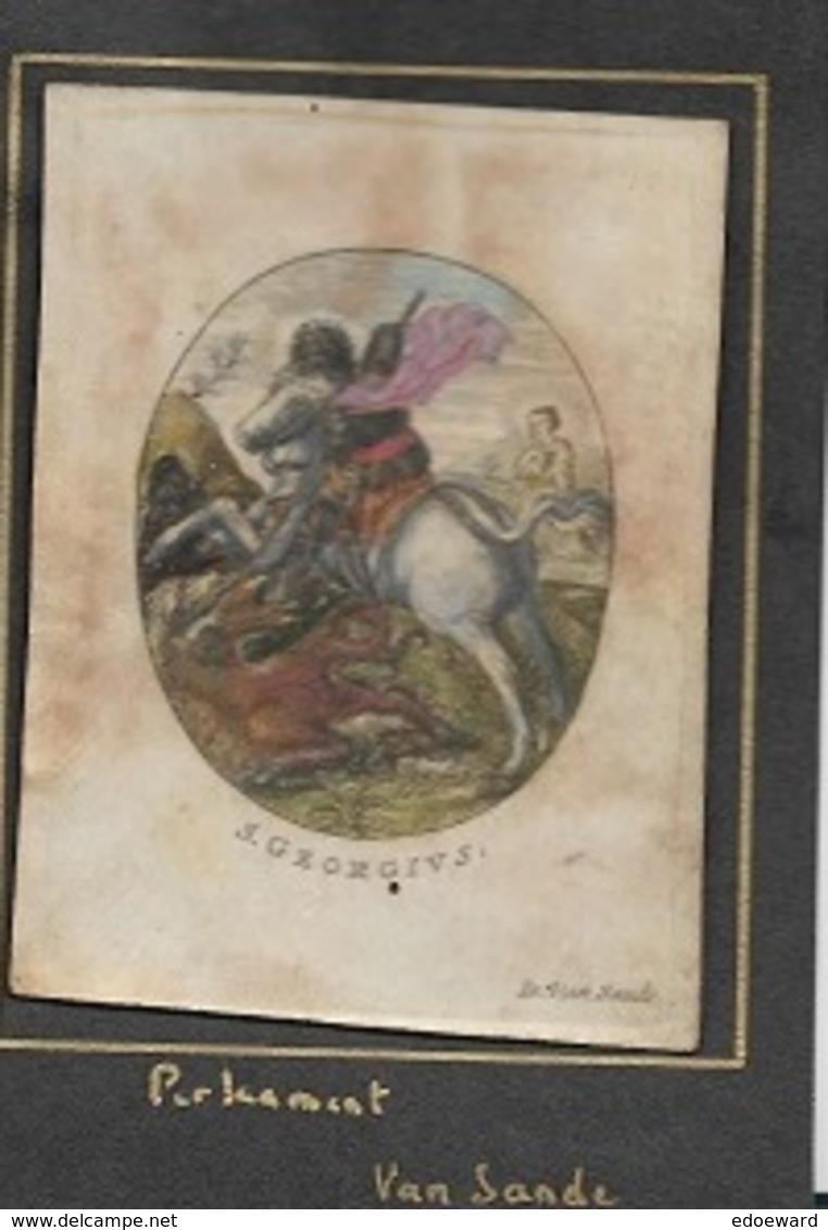 VR6/ HANDGEKLEURDE GRAVURE  PERKAMENT   S.GEORGIUS                VAN SANDE  7/9 CM - Religion & Esotérisme