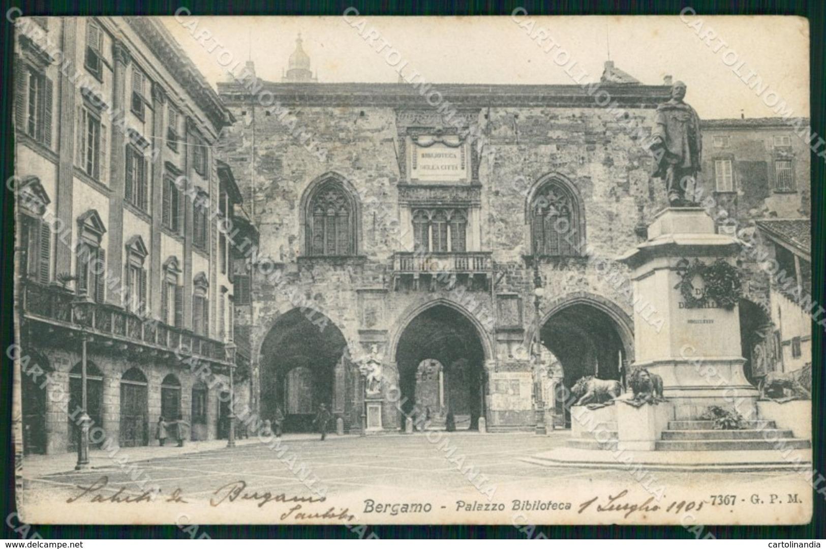 Bergamo Città Palazzo Biblioteca Cartolina MX4072 - Bergamo