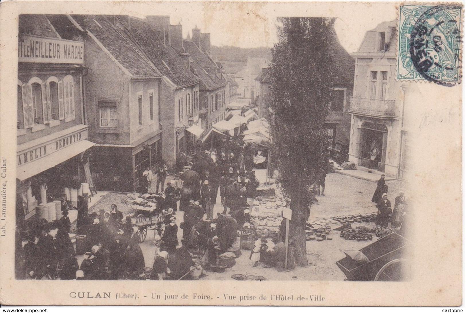 18 CULAN - Un Jour De Foire - Vue Prise De L'Hôtel-de-Ville - Carte Précurseur - 2 Scans, Recto Et Verso - Culan