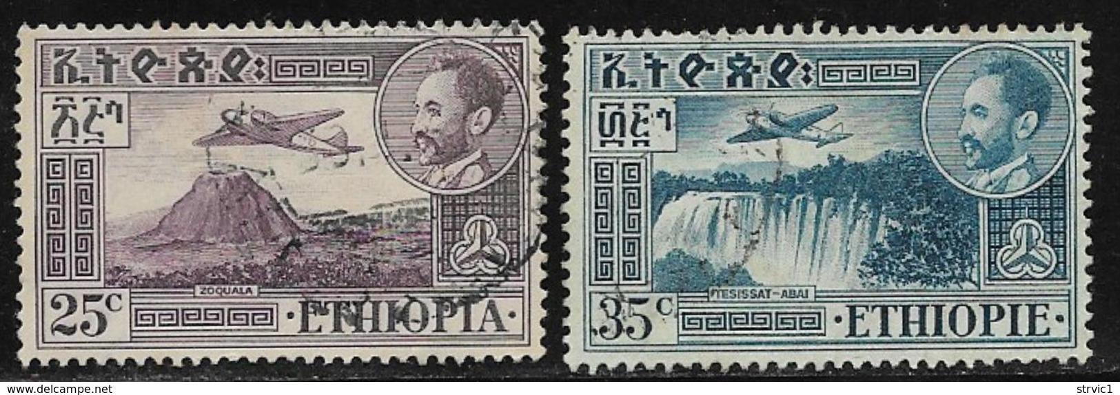 Ethiopia Scott # C25, C27 Used Volcano, Waterfall, 1952,1955 - Ethiopia