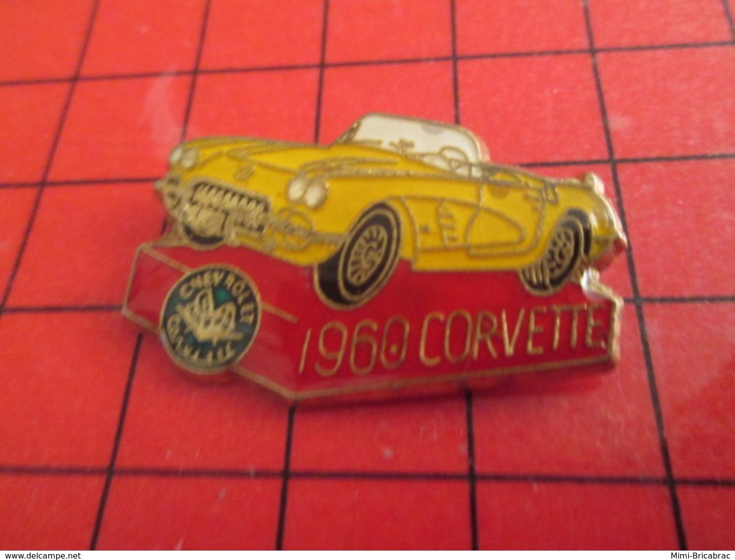 818B Pin's Pins / De Belle Qualité Et Rare / THEME AUTOMOBILE : CHEVROLET CORVETTE JAUNE 1960 - Corvette