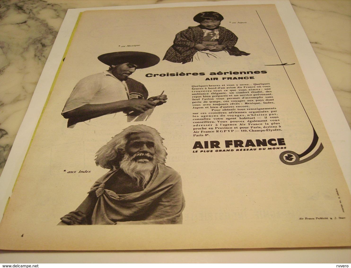 ANCIENNE PUBLICITE CROISIERES AERIENNES  AIR FRANCE  1958 - Publicités