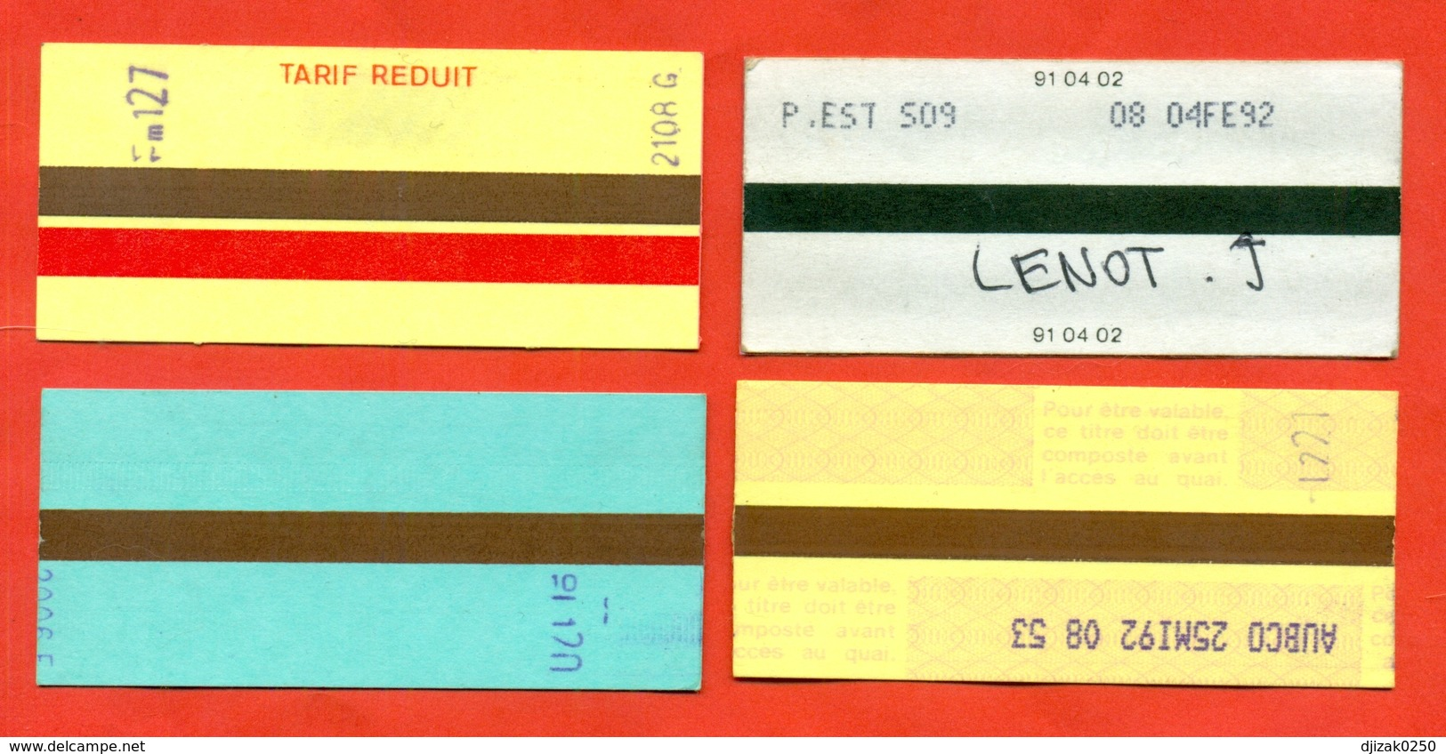 France 1991-92. City Paris. Lot Of 4 Tickets. - Europe