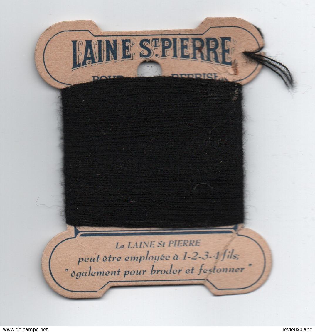Bobine Ancienne Carton/Laine Saint Pierre/Pure Laine Pour Repriser/Lyon-Lille/Vers 1930-1950 MER70 - Vintage Clothes & Linen