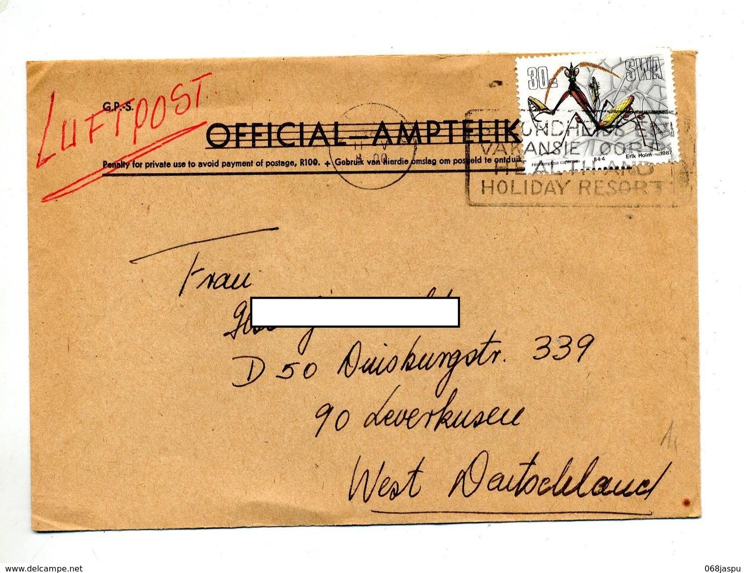 Lettre  Flamme Vacances Sur Mantes - Afrique Du Sud (1961-...)