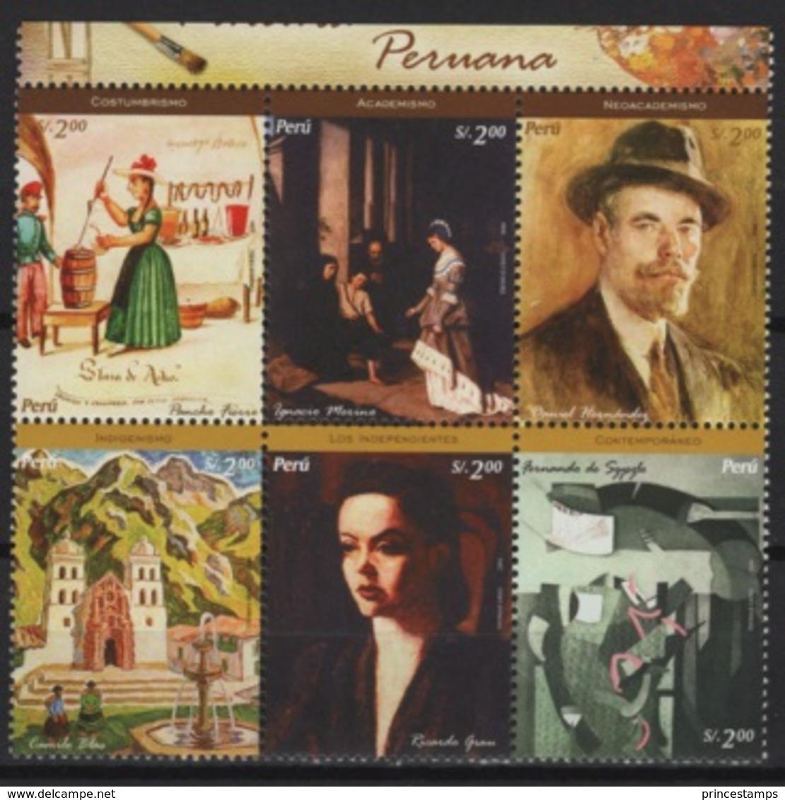 Peru (2005) Yv. 1494/99  /  Art - Paintings - Pintura - Tableaux - Peintres - Kunst