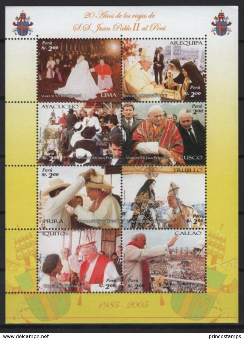 Peru - Perou (2006) Yv. 1588/95  /  Pope - Papa - John Paul II - Juan Pablo - Pausen