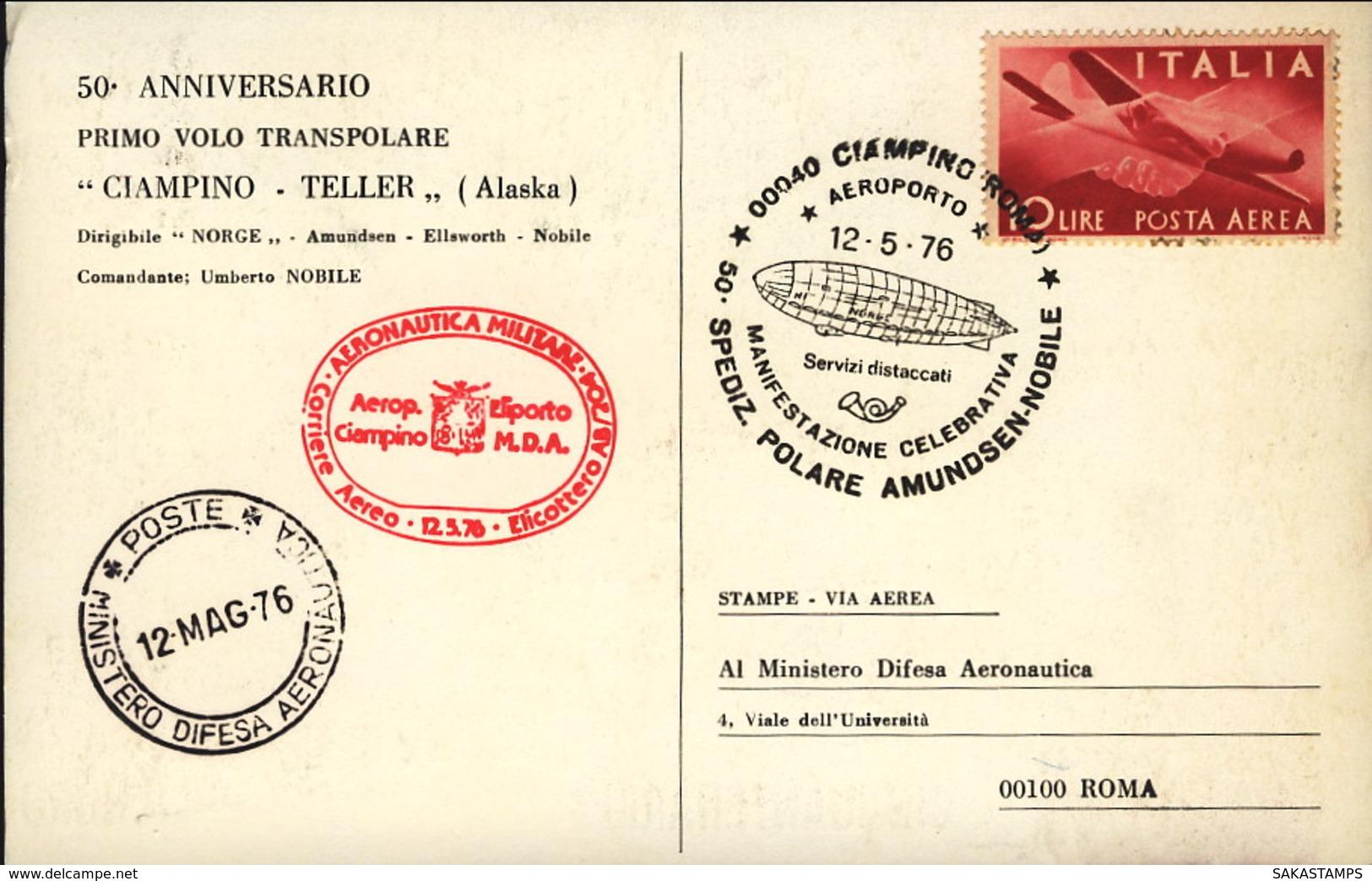 1976- Cartolina Cinquantenario 1 Sorvolo Del Polo Nord Spedizione Polare Amundsen Nobile+bollo Corriere Aereo Aeronautic - 1971-80: Storia Postale