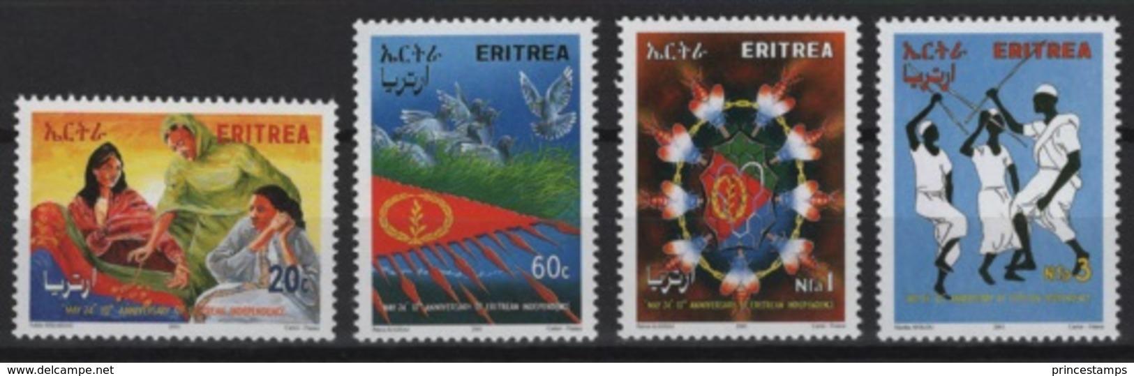 Eritrea (2001) Yv. 429/32  /  Independency - Independance - Flags - Culture - Dances - Dress - Eritrea