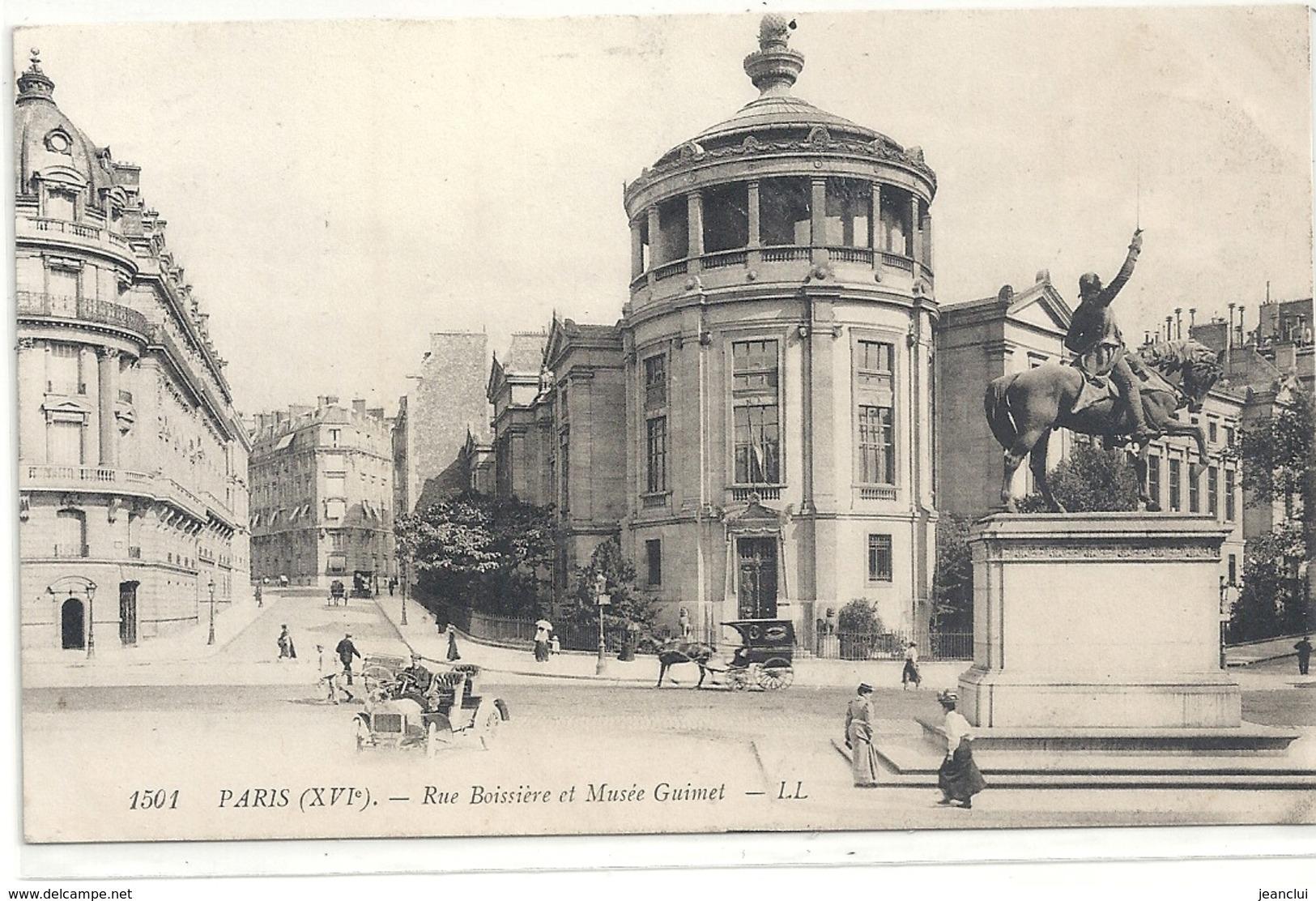 1501. PARIS . RUE BOISSIERE ET MUSEE GUIMET . CARTE TRES ANIMEE AFFR AU VERSO . 2 SCANES - Arrondissement: 16