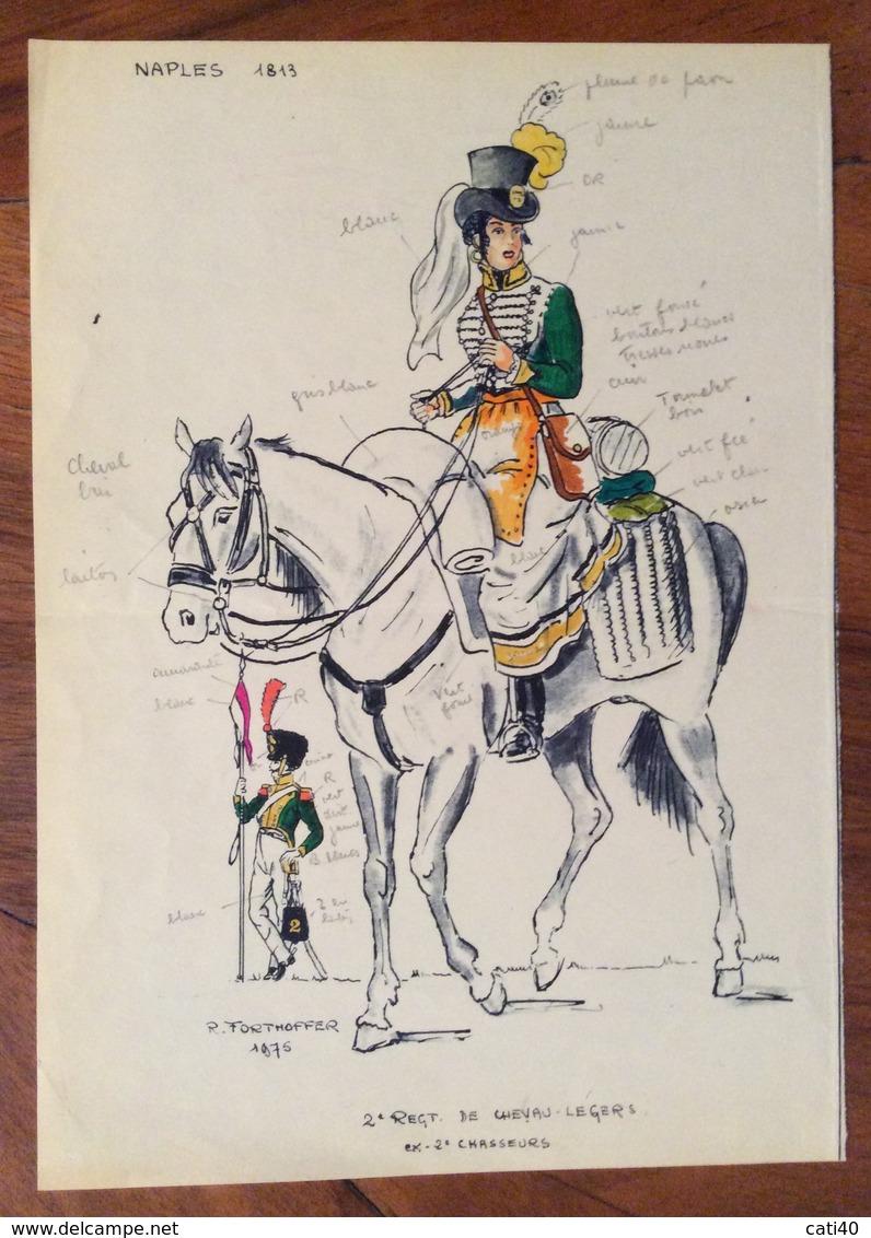 UNIFORMI MILITARI 2 REGT.DE CHEVAU -. LEGERS  Ex 2 CHASSEURS Di R.FORTHOFFER 1975 (15X20) Con Didascalie E Autografo - Uniforms